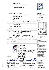 сертификат испытания теплотехнических показаний узлового сечения ALUTECH ALT F50
